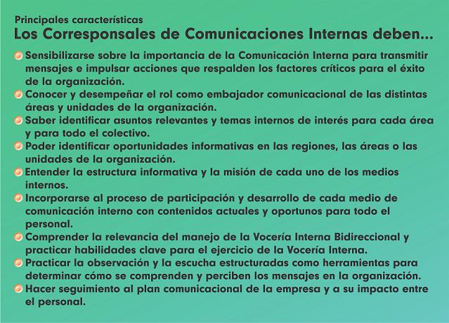 Los Corresponsales de Comunicaciones Internas deben...